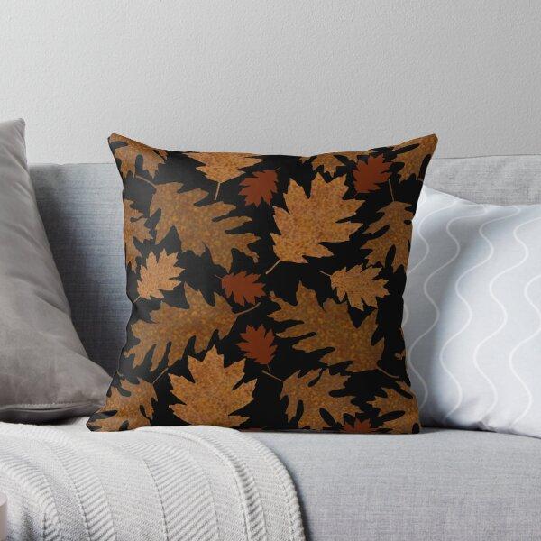 Rustic Golden Oak Leaves Throw Pillow