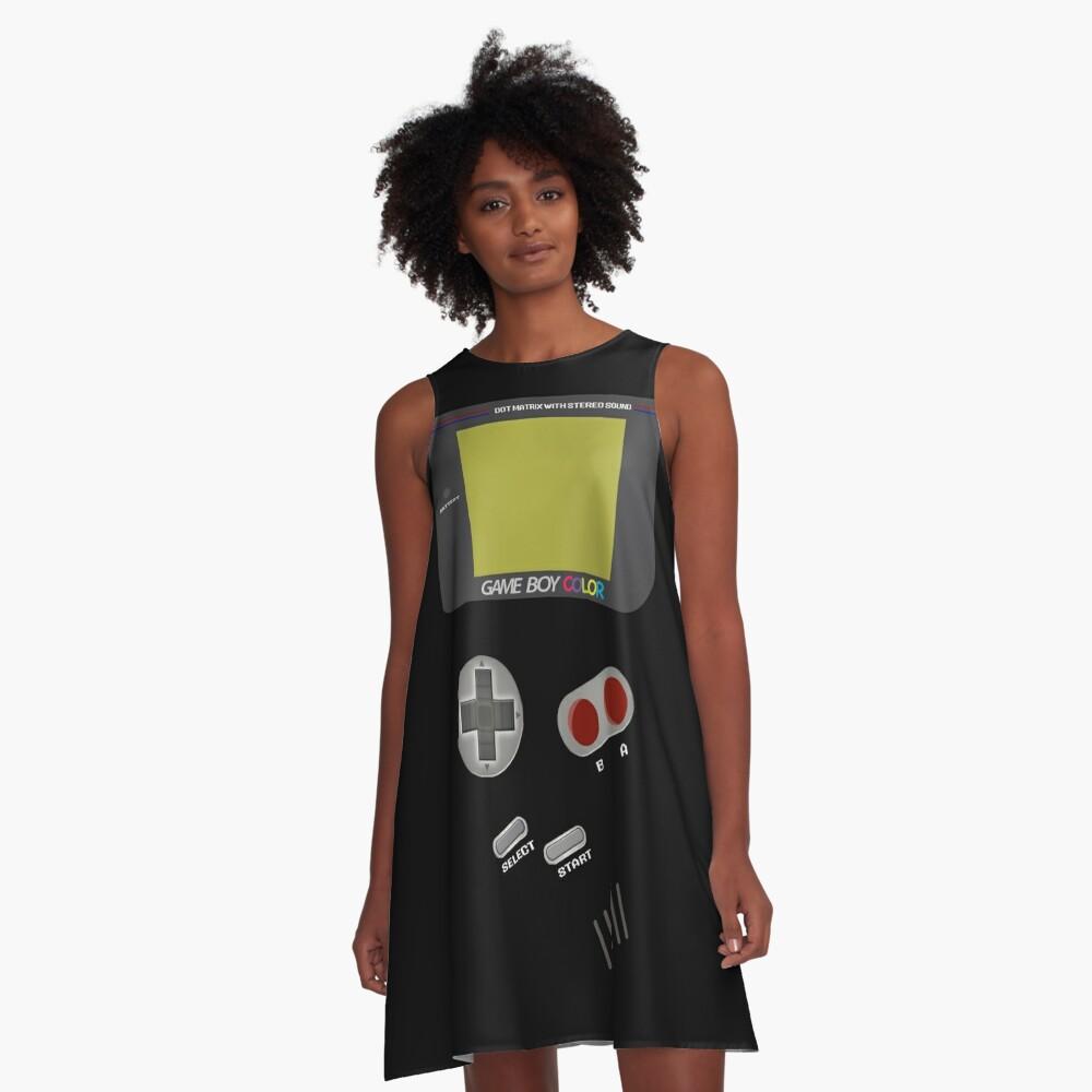 Video Retro Game Boy Console  A-Line Dress Front