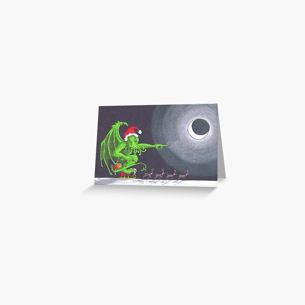 Great Cthulhu Hates Christmas - 'Speeding' thru the Night Greeting Card