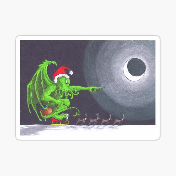 Great Cthulhu Hates Christmas - 'Speeding' thru the Night Sticker