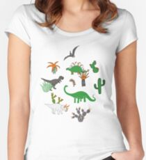 Dinosaur Desert - green and orange on grey - fun pattern by Cecca Designs Women's Fitted Scoop T-Shirt