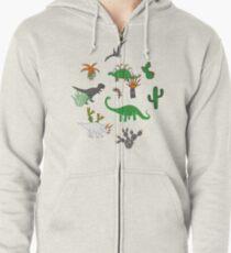 Dinosaur Desert - green and orange on grey - fun pattern by Cecca Designs Zipped Hoodie