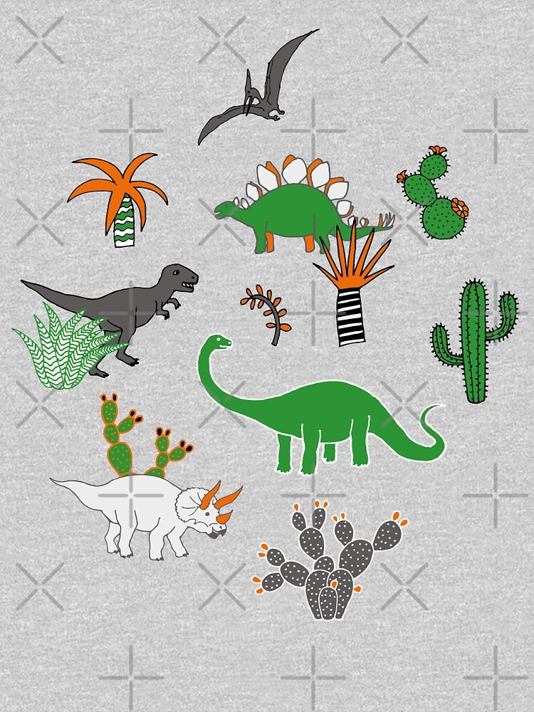 Dinosaur Desert - green and orange on grey - fun pattern by Cecca Designs by Cecca-Designs