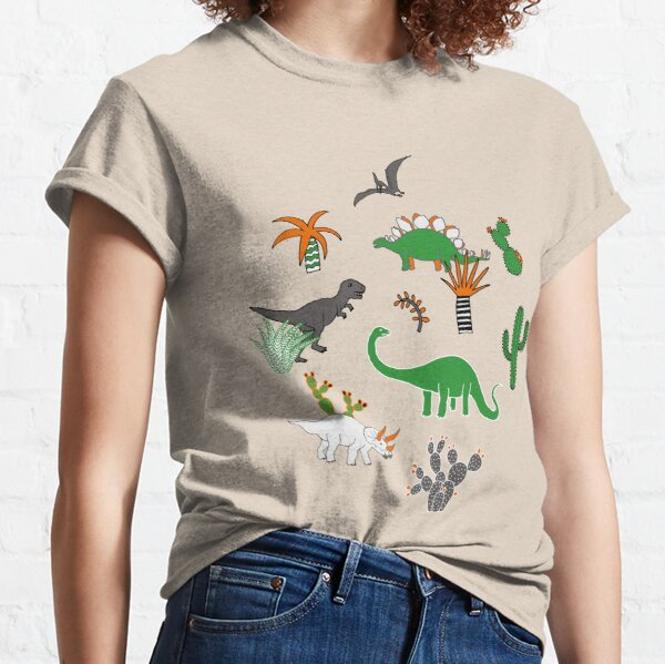 Dinosaur Desert - green and orange on grey - fun pattern by Cecca Designs Classic T-Shirt