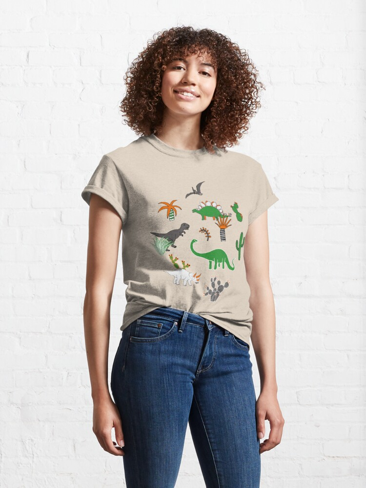 Alternate view of Dinosaur Desert - green and orange on grey - fun pattern by Cecca Designs Classic T-Shirt