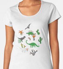 Dinosaur Desert - green and orange on grey - fun pattern by Cecca Designs Women's Premium T-Shirt
