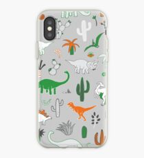 Dinosaur Desert - green and orange on grey - fun pattern by Cecca Designs iPhone Case