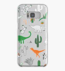 Dinosaur Desert - green and orange on grey - fun pattern by Cecca Designs Samsung Galaxy Case/Skin