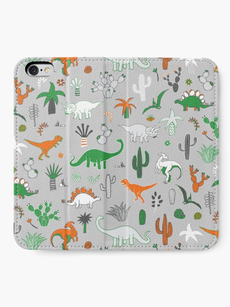 Alternate view of Dinosaur Desert - green and orange on grey - fun pattern by Cecca Designs iPhone Wallet