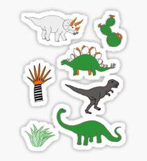 Dinosaur Desert - green and orange on grey - fun pattern by Cecca Designs Sticker