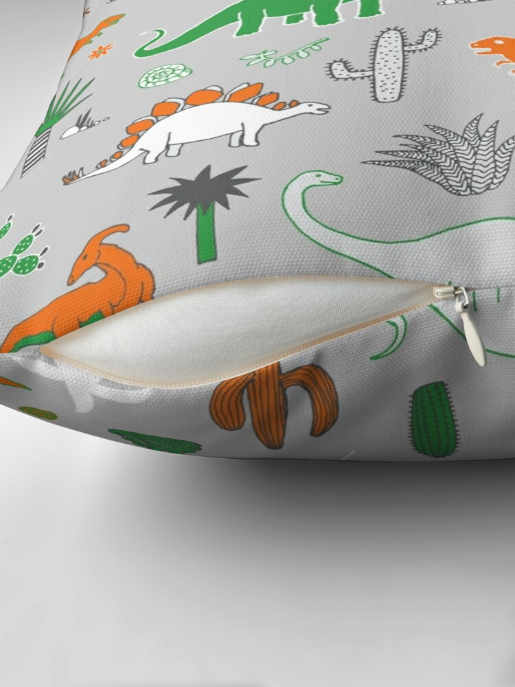 Alternate view of Dinosaur Desert - green and orange on grey - fun pattern by Cecca Designs Throw Pillow