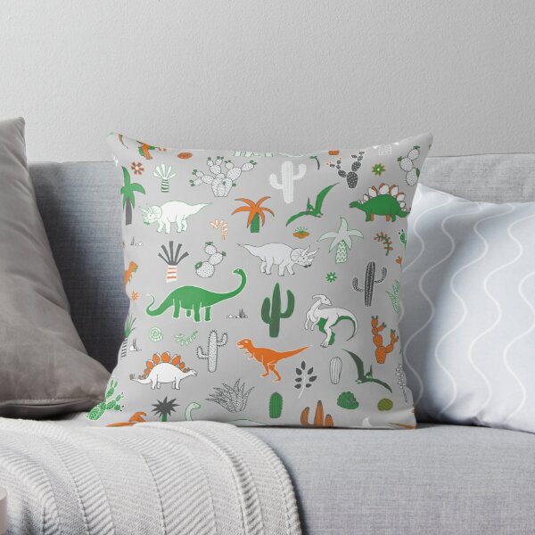 Dinosaur Desert - green and orange on grey - fun pattern by Cecca Designs Throw Pillow
