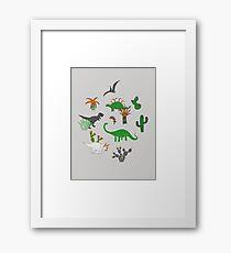 Dinosaur Desert - green and orange on grey - fun pattern by Cecca Designs Framed Print