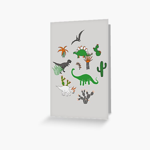 Dinosaur Desert - green and orange on grey - fun pattern by Cecca Designs Greeting Card