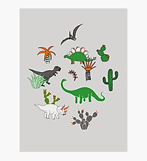 Dinosaur Desert - green and orange on grey - fun pattern by Cecca Designs Photographic Print