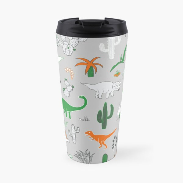 Dinosaur Desert - green and orange on grey - fun pattern by Cecca Designs Travel Mug