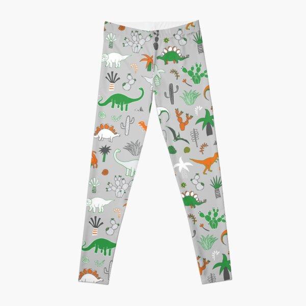Dinosaur Desert - green and orange on grey - fun pattern by Cecca Designs Leggings