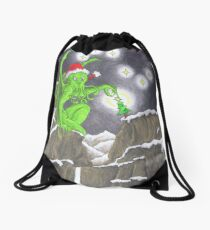 Great Cthulhu Hates Christmas - Showstopper Drawstring Bag