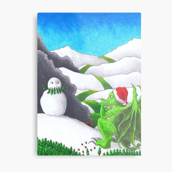 Great Cthulhu Hates Christmas - Self-portrait in Snow Metal Print