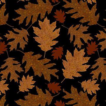 Rustic Golden Oak Leaves by theartofvikki