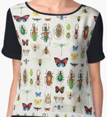 The Usual Suspects - insects on white - watercolour bugs pattern by Cecca Designs Chiffon Top
