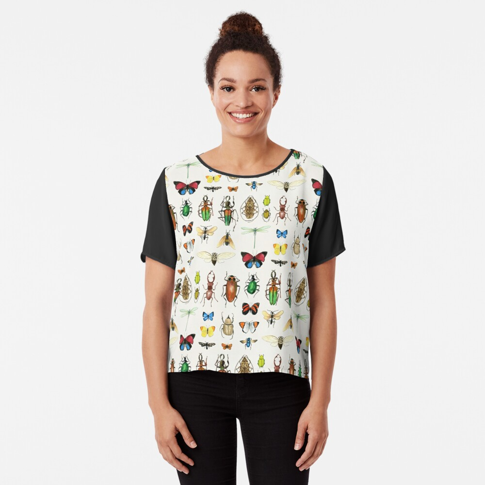 The Usual Suspects - insects on white - watercolour bugs pattern by Cecca Designs Women's Chiffon Top Front