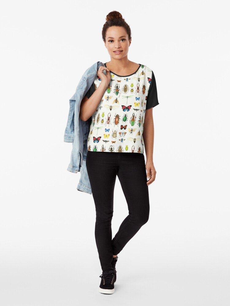 Alternate view of The Usual Suspects - insects on white - watercolour bugs pattern by Cecca Designs Chiffon Top