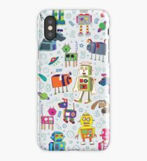 Robots in Space - grey - fun Robot pattern by Cecca Designs iPhone Case/Skin