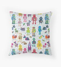 Robots in Space - grey - fun Robot pattern by Cecca Designs Floor Pillow