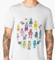 Robots in Space - grey Men's Premium T-Shirt