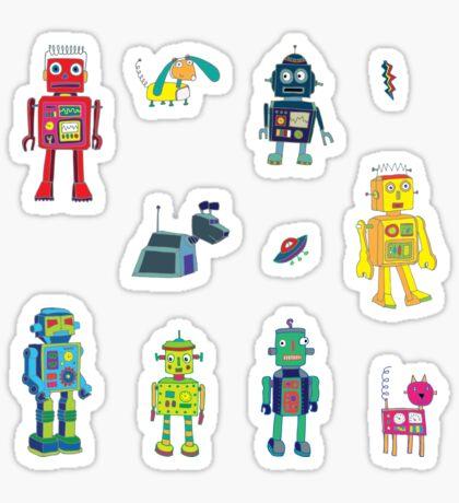 Robots in Space - grey - fun Robot pattern by Cecca Designs Sticker