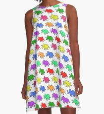 Triceratops Colourful Pattern A-Line Dress