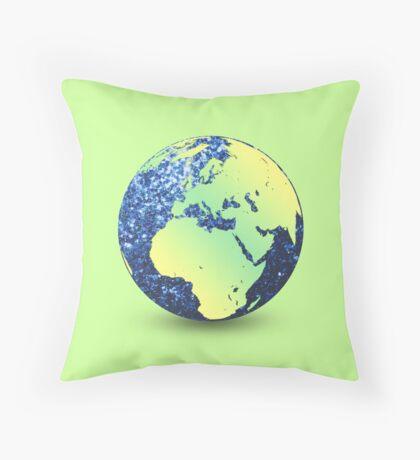 Earth Day Blue Sparkles Globe Throw Pillow