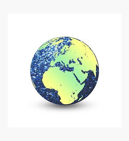 Earth Day Blue Sparkles Globe Photographic Print
