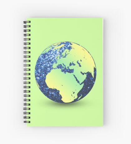 Earth Day Blue Sparkles Globe Spiral Notebook