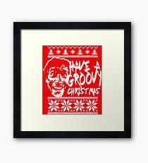 evil dead christmas sweater horror print  Framed Print