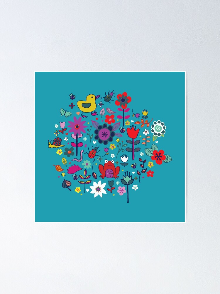Alternate view of Ducks and Frogs in the Garden - cute floral pattern by Cecca Designs Poster