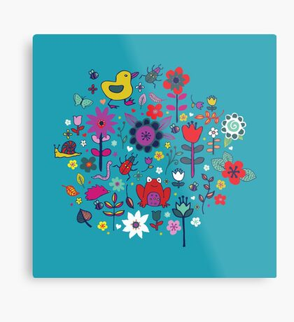 Ducks and Frogs in the Garden - cute floral pattern by Cecca Designs Metal Print