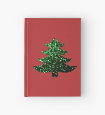 Sparkly Christmas tree green sparkles  Hardcover Journal