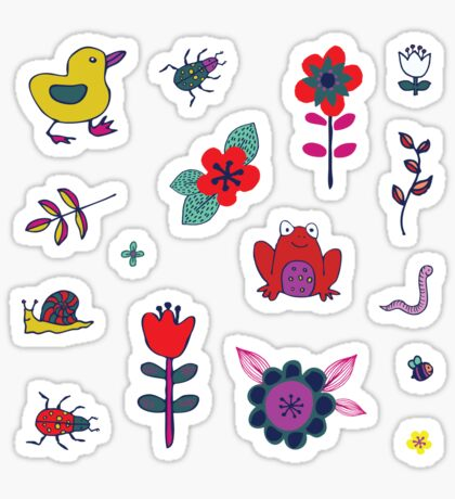 Ducks and Frogs in the Garden - cute floral pattern by Cecca Designs Sticker