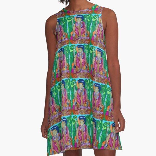 Ukulele: Four Strings  A-Line Dress