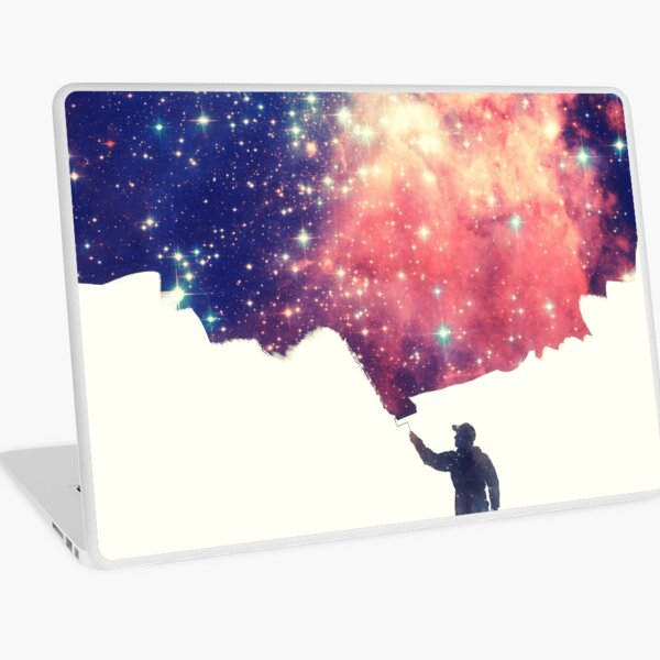 Painting the universe (Colorful Negative Space Art) Laptop Skin