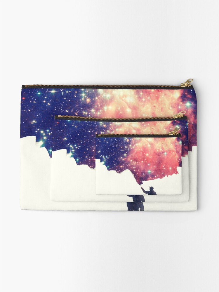 Alternate view of Painting the universe (Colorful Negative Space Art) Zipper Pouch