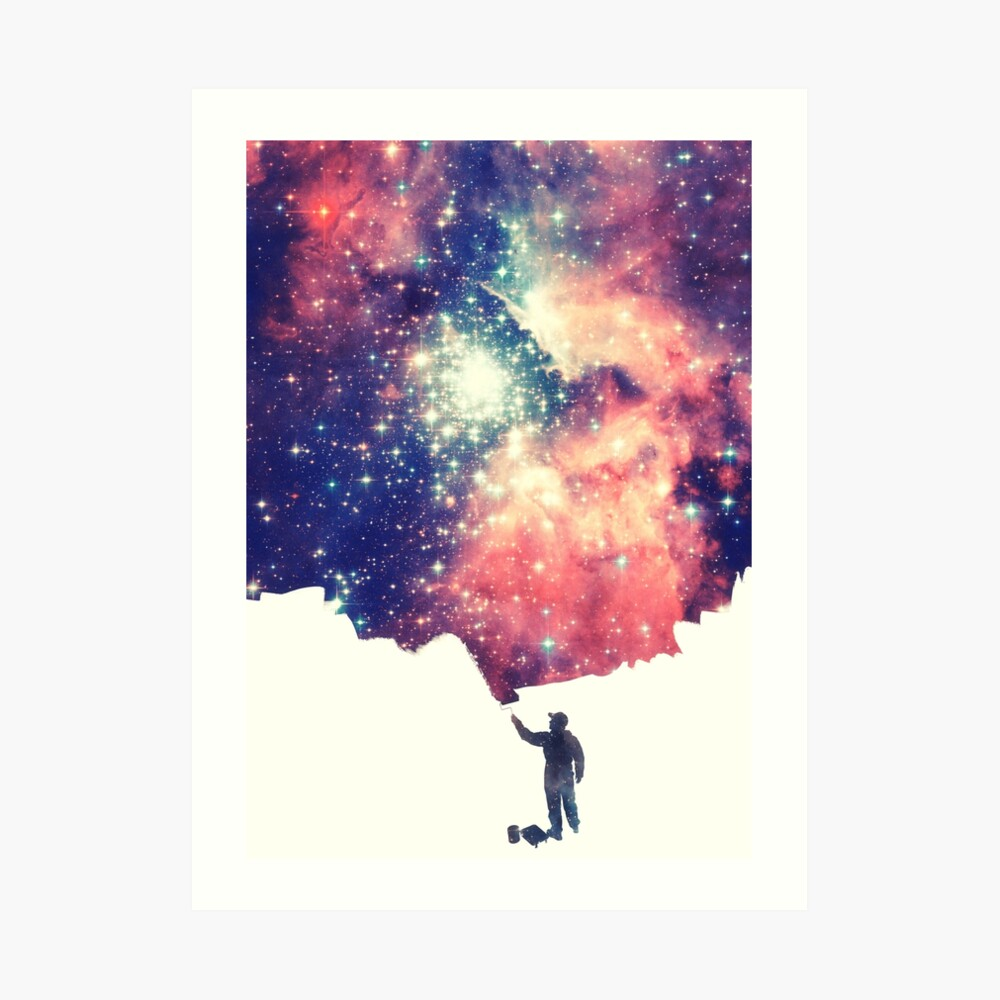 Painting the universe (Colorful Negative Space Art) Art Print