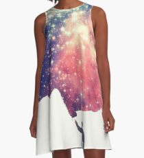 Painting the universe (Colorful Negative Space Art) A-Line Dress