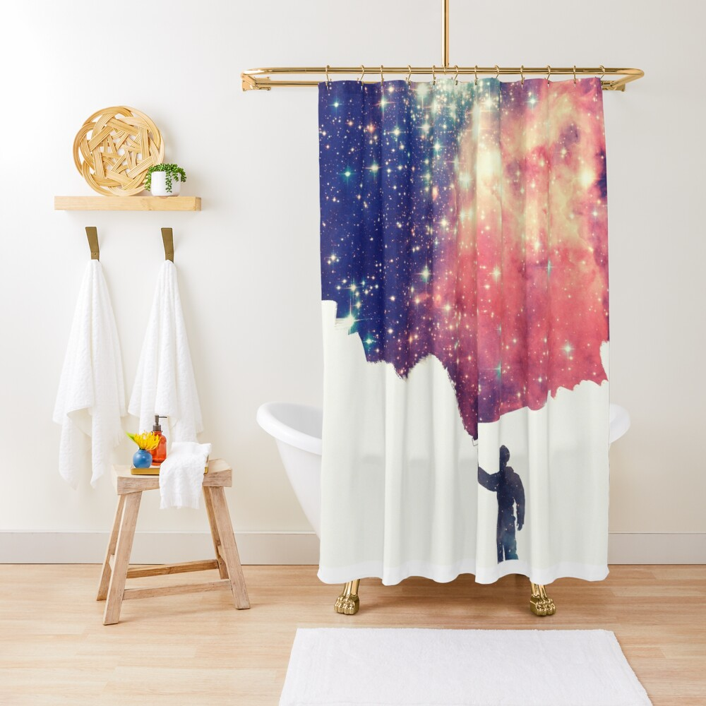 Painting the universe (Colorful Negative Space Art) Shower Curtain