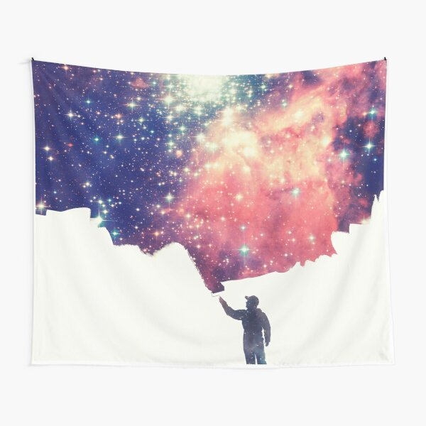 Painting the universe (Colorful Negative Space Art) Tapestry