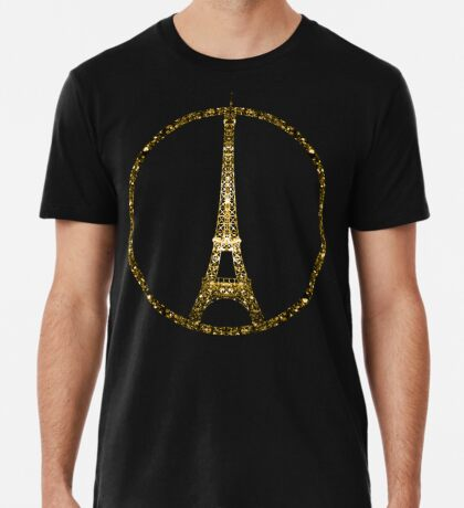 Paris Eiffel Tower gold sparkles peace symbol on black Men's Premium T-Shirt
