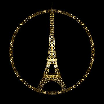 Paris Eiffel Tower gold sparkles peace symbol on black by PLdesign