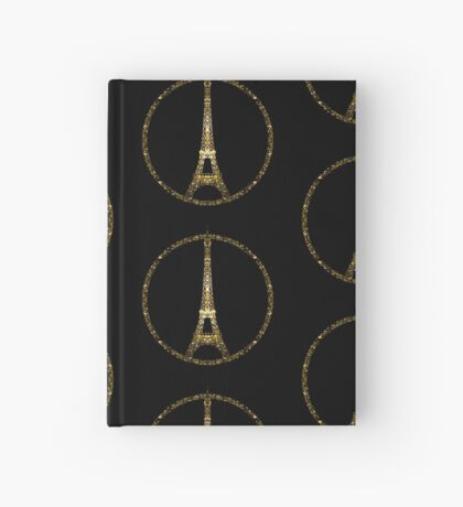 Paris Eiffel Tower gold sparkles peace symbol on black Hardcover Journal